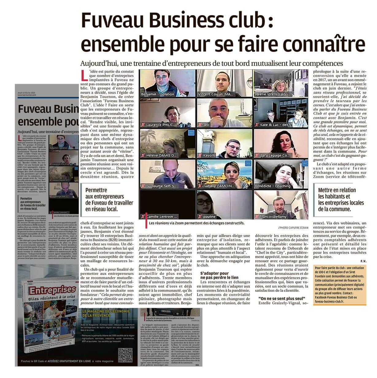 Article du 11 Février, le Fuveau Business Club mis à l'honneur